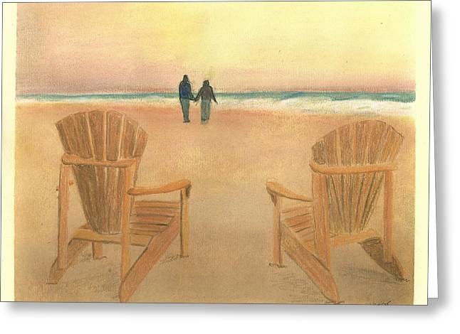 Beach Sunsets Pastels Greeting Cards - Adirondack Sunset Greeting Card by Valerie Copper
