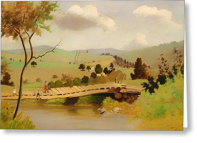Fishing Creek Greeting Cards - Adirondacks Bridge For Fishing Greeting Card by Louis Eilshemius