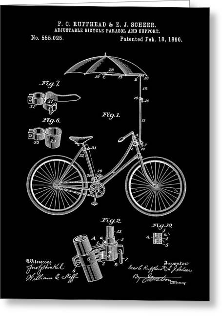 Tandem Bicycle Greeting Cards - Adjustable Bike Patent 1896 - Black Greeting Card by Stephen Younts