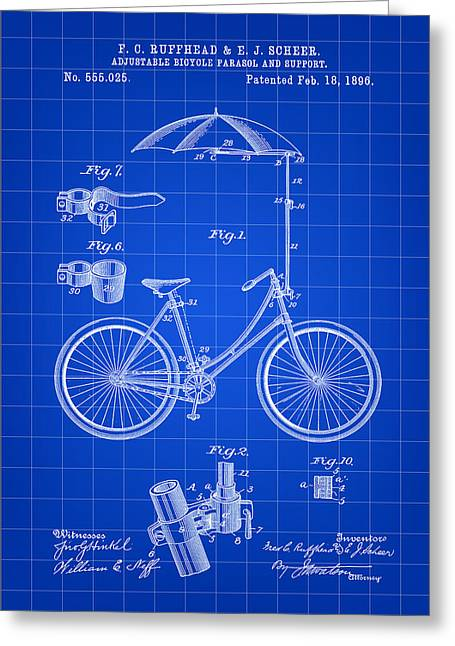 Tandem Bicycle Greeting Cards - Adjustable Bike Patent 1896 - Blue Greeting Card by Stephen Younts