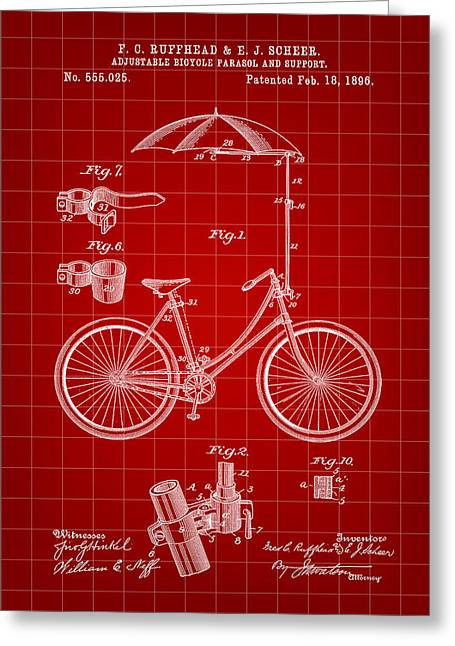 Tandem Bicycle Greeting Cards - Adjustable Bike Patent 1896 - Red Greeting Card by Stephen Younts