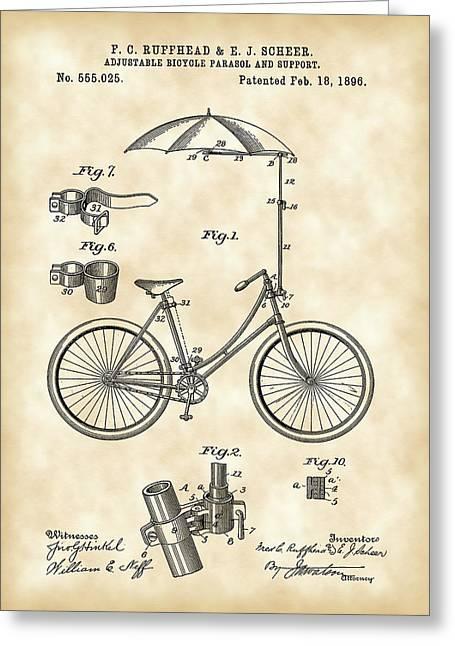 Tandem Bicycle Greeting Cards - Adjustable Bike Patent 1896 - Vintage Greeting Card by Stephen Younts