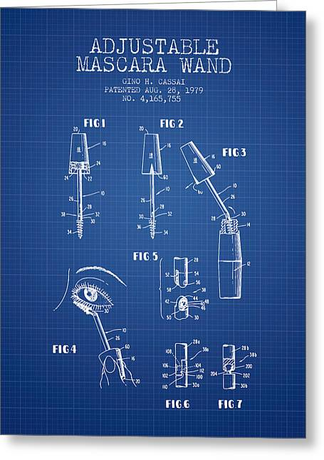 Mascara Greeting Cards - Adjustable Mascara Wand patent from 1979 - Blueprint Greeting Card by Aged Pixel
