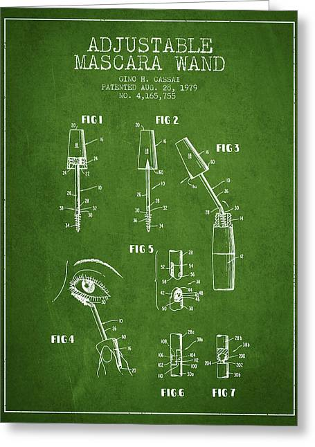 Mascara Greeting Cards - Adjustable Mascara Wand patent from 1979 - Green Greeting Card by Aged Pixel