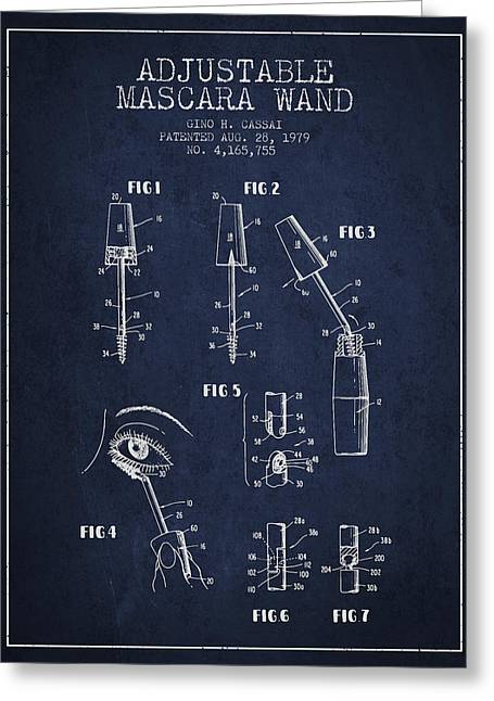 Mascara Greeting Cards - Adjustable Mascara Wand patent from 1979 - Navy Blue Greeting Card by Aged Pixel