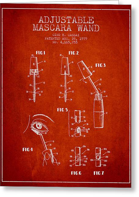 Mascara Greeting Cards - Adjustable Mascara Wand patent from 1979 - red Greeting Card by Aged Pixel