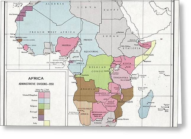 Administrative Divisions Of Africa Greeting Card by Library Of Congress, Geography And Map Division