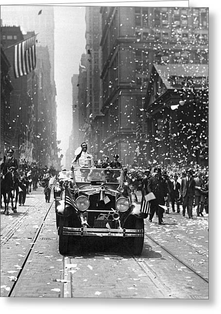 Admiral Byrd Nyc Parade Greeting Card by Underwood Archives