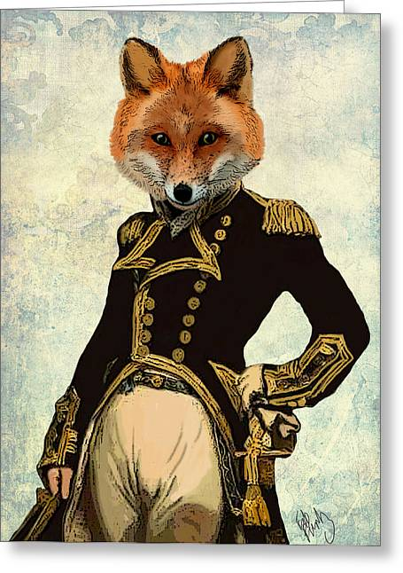 Animal Art Greeting Cards - Admiral Fox Full Greeting Card by Kelly McLaughlan