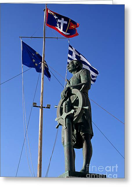 Town Greeting Cards - Admiral Miaoulis statue in Hydra island Greeting Card by George Atsametakis