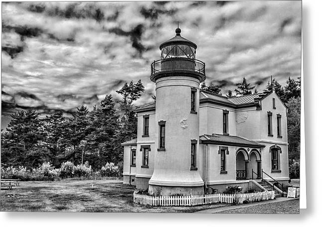 Fort Casey Greeting Cards - Admiralty Head Lighthouse-Black and White Greeting Card by Jeff Swanson