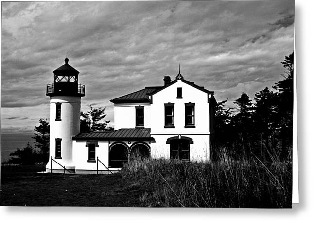 Old Door And Pacific Ocean Greeting Cards - Admiralty Head Lighthouse BW Greeting Card by Kevin D Davis