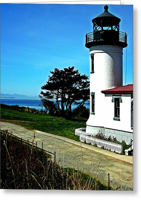 Old Door And Pacific Ocean Greeting Cards - Admiralty Head Lighthouse View  Greeting Card by Kevin D Davis