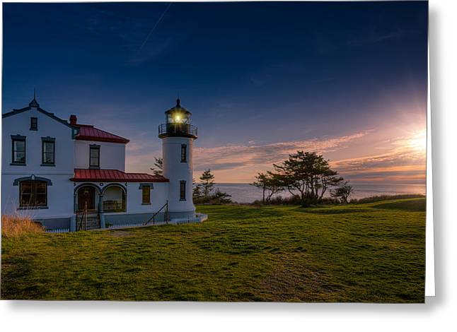 Fort Casey Greeting Cards - Admiralty Head Sunset Greeting Card by Dan Mihai