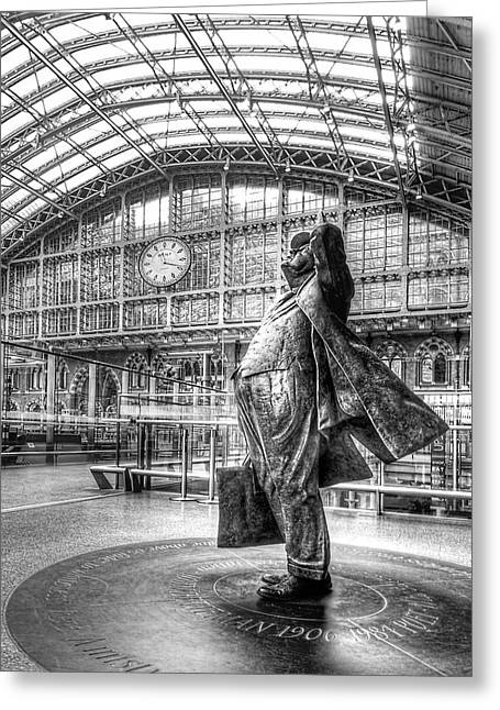 Large Clock Greeting Cards - Admiration - Sir John Betjeman at St Pancras Station London Greeting Card by Gill Billington