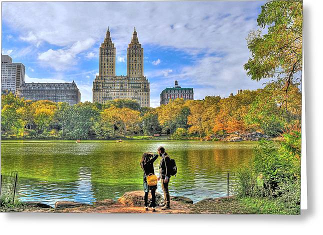 Central Park West Greeting Cards - Admiring the San Remo Building from Central Park Greeting Card by Randy Aveille