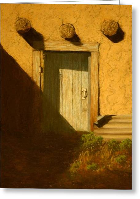 Photo-realism Pastels Greeting Cards - Adobe Blue Door Greeting Card by Lynn Bernstein