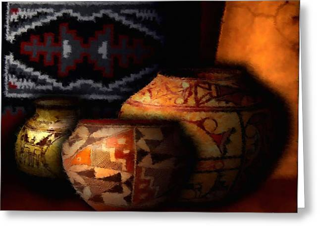 Native American Rug Greeting Cards - Adobe Fireplace Greeting Card by Roger D Hale