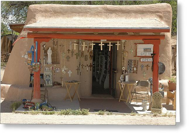 Taos Greeting Cards - Adobe Gift Shop Greeting Card by Jerry McElroy