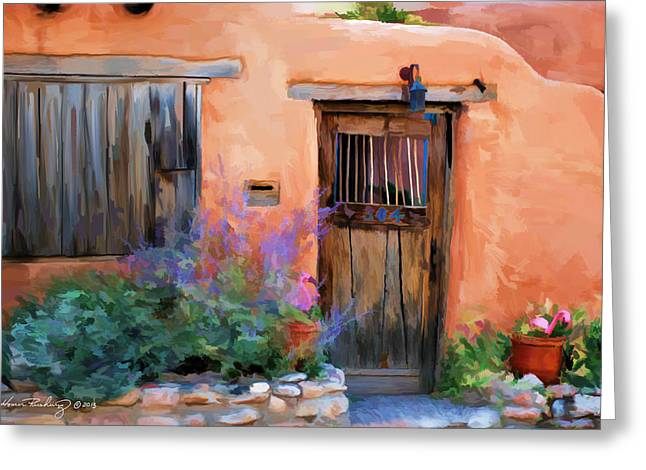 Adobe Mixed Media Greeting Cards - Adobe House Greeting Card by Michael Rushing