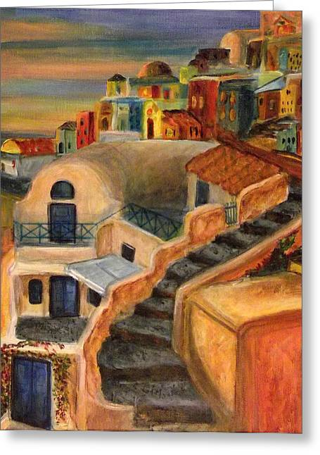 Adobe Mixed Media Greeting Cards -  Cliffside Adobe Village Greeting Card by Nancy Welsch