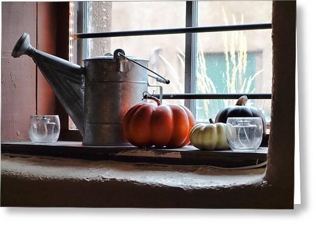Adobe Wells Greeting Cards - Adobe Window Autumn Still Life C1 Greeting Card by Robert Meyers-Lussier