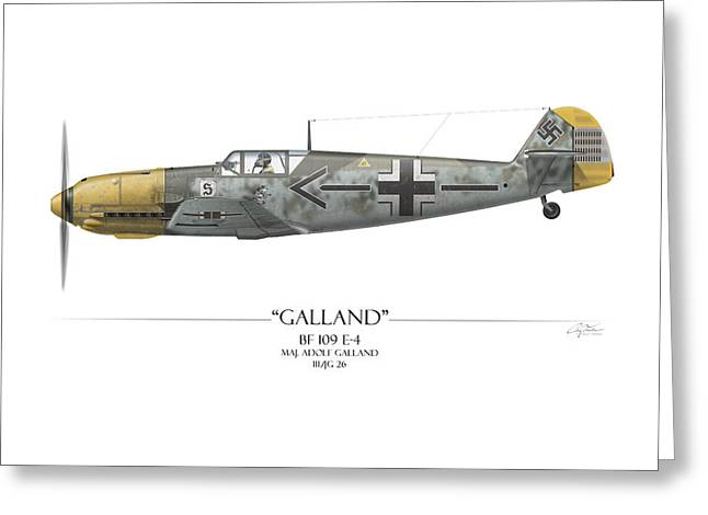Adolf Galland Messerschmitt Bf-109 - White Background Greeting Card by Craig Tinder