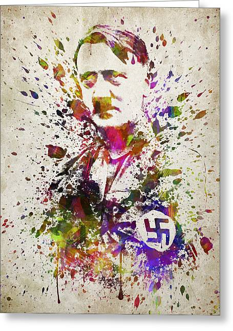 Portrait Digital Greeting Cards - Adolf Hitler in Color Greeting Card by Aged Pixel