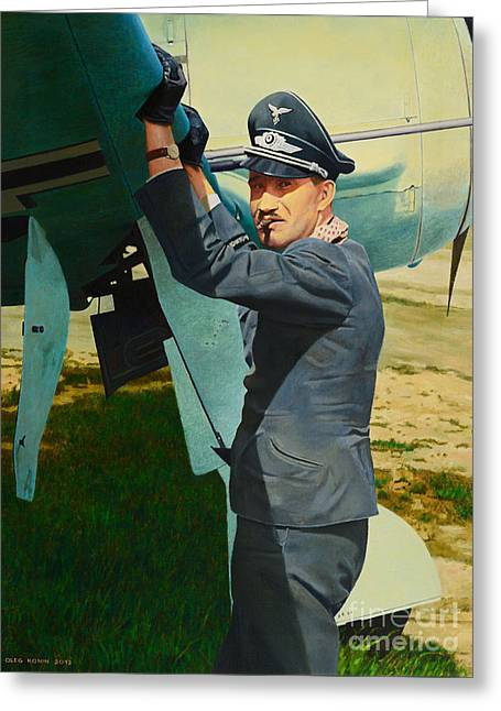 Luftwaffe Fighter Aces Greeting Cards - Adolf Greeting Card by Oleg Konin
