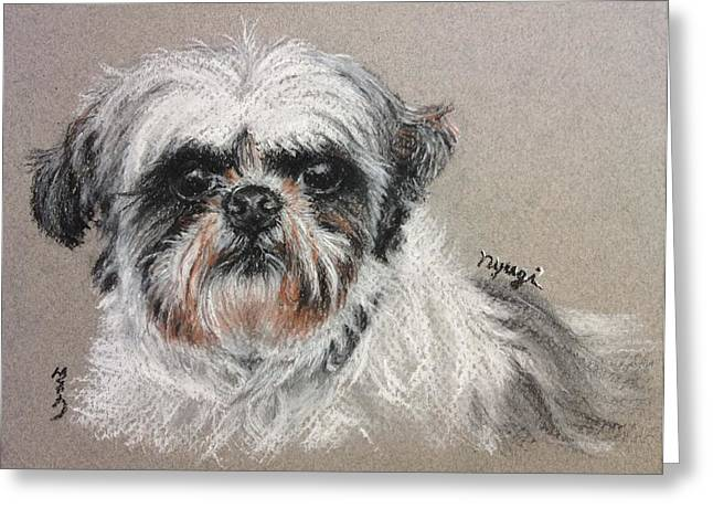 Custom Commissioned Pet Portrait From Photos Greeting Cards - Adorable Shitzu Greeting Card by Sun Sohovich