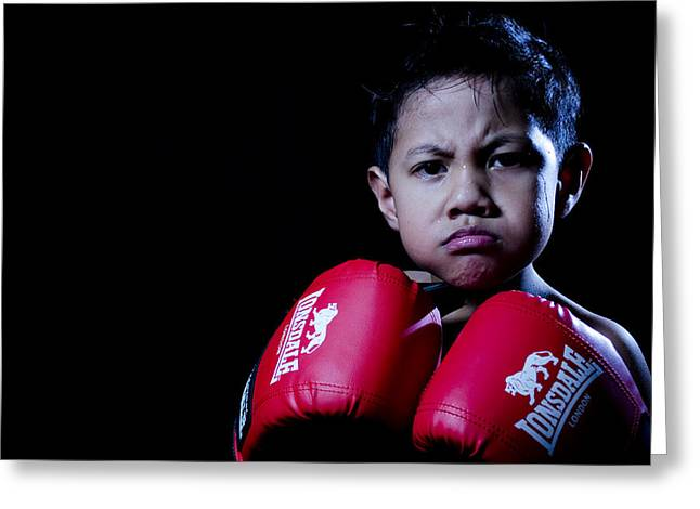 Kickboxers Greeting Cards - Adorably Fierce Greeting Card by Mystique Asian