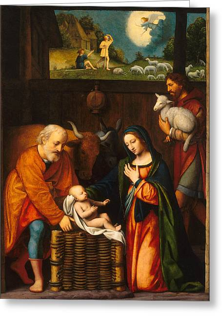 Adoration Of The Child Greeting Card by Bernardino Luini