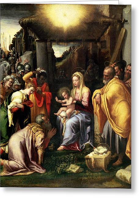 King Greeting Cards - Adoration Of The Kings Greeting Card by Taddeo Zuccaro