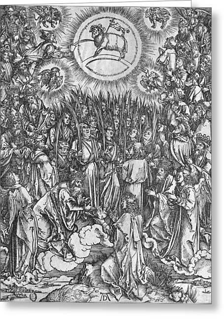 Lion Lamb Greeting Cards - Adoration of the Lamb Greeting Card by Albrecht Durer or Duerer