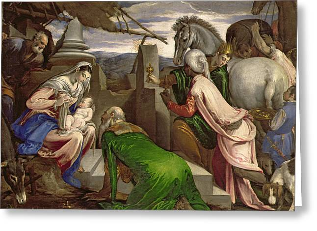 Adoration Of The Magi Greeting Card by Jacopo Bassano