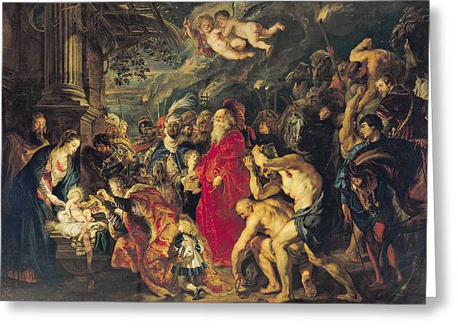 Balthasar Greeting Cards - Adoration Of The Magi, 1610 Oil On Canvas Greeting Card by Peter Paul Rubens