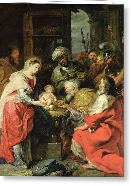 Knelt Photographs Greeting Cards - Adoration Of The Magi, 1626-29 Oil Canvas Greeting Card by Peter Paul Rubens