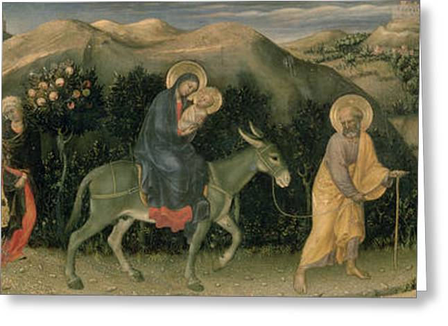 Florentine Greeting Cards - Adoration Of The Magi Altarpiece; Central Predella Panel Depicting The Flight Into Egypt, 1423 Greeting Card by Gentile da Fabriano