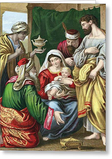 Magi Greeting Cards - Adoration of the Magi Greeting Card by Anonymous