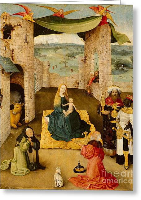 Saint Joseph Greeting Cards - Adoration Of The Magi By Hieronymus Greeting Card by MMA John Stewart Kennedy Fund