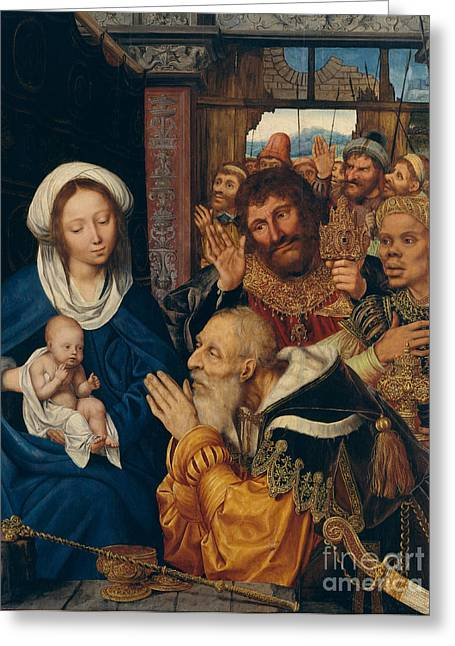 Saint Joseph Greeting Cards - Adoration Of The Magi By Quentin Metsys Greeting Card by MMA John Stewart Kennedy Fund