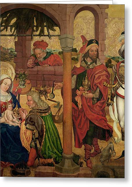 Balthasar Greeting Cards - Adoration Of The Magi, C.1475 Oil On Panel Greeting Card by Martin Schongauer