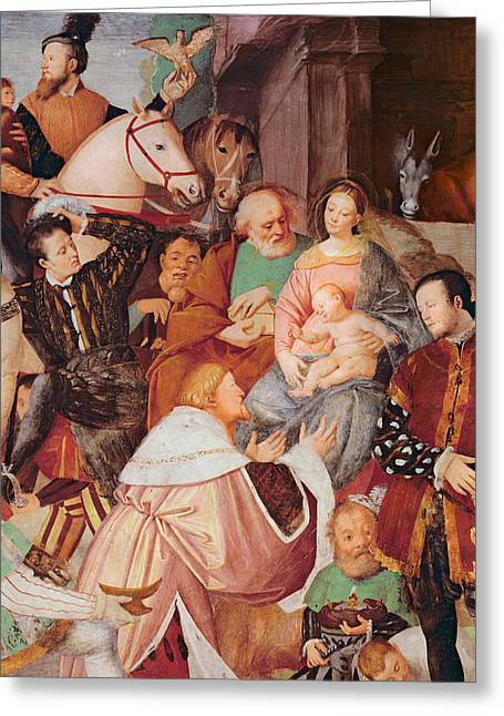 Christ Child Greeting Cards - Adoration of the Magi Greeting Card by Gaudenzio Ferrari