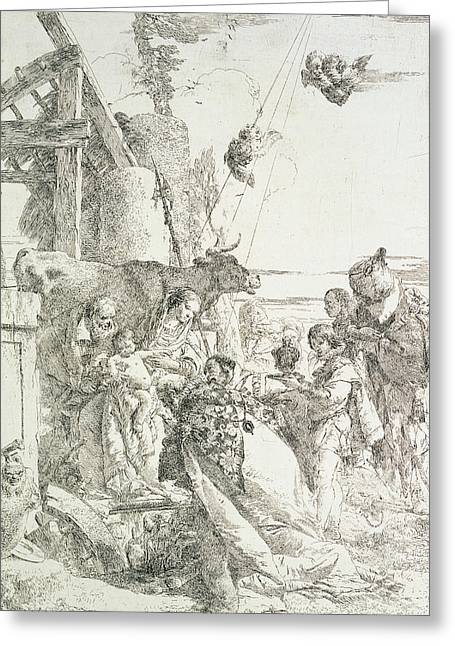 Virgin Mary Drawings Greeting Cards - Adoration of the Magi Greeting Card by Giovanni Battista Tiepolo