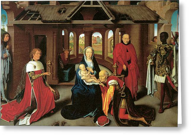 Baby Jesus Greeting Cards - Adoration of the Magi Greeting Card by Hans Memling