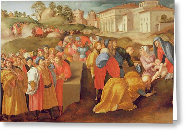 Mannerist Greeting Cards - Adoration Of The Magi, Known As The Benintendi Epiphany Oil On Panel Greeting Card by Jacopo Pontormo