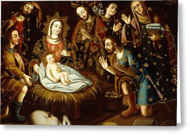 Group Of People Greeting Cards - Adoration of the Sheperds Greeting Card by Gaspar Miguel de Berrio