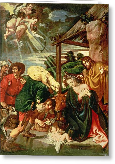 Virgin Mary Photographs Greeting Cards - Adoration Of The Shepherds, 17th Century Greeting Card by Pedro Orrente