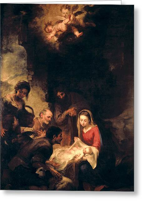 Knelt Paintings Greeting Cards - Adoration of the Shepherds Greeting Card by Bartolome Esteban Murillo
