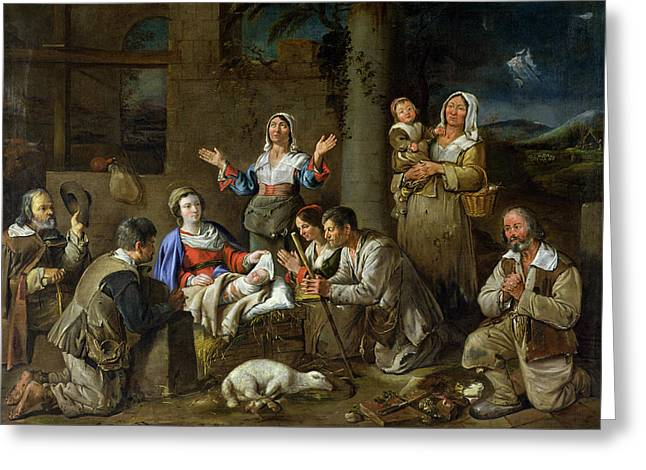Agnus Greeting Cards - Adoration Of The Shepherds, C.1659 Oil On Canvas Greeting Card by Jean Michelin